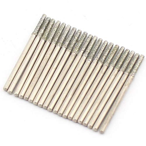 JINGLING 2mm Diamond Drill Bits Grinding Head Lapidary Tools for Stone Pack of 30Pcs