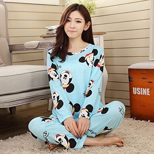 Conjunto de Pijamas de Invierno y Primavera para Mujer con Estampado Animal y Pijama de algodón rayón de Manga Larga Coreano Suelto