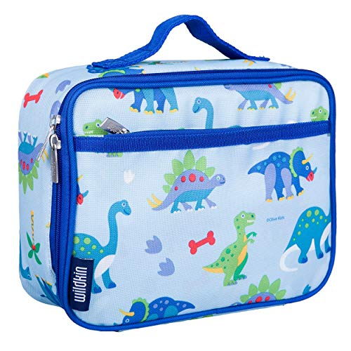 Wildkin Insulated Lunch Box Bag for Boys and Girls Perfect Size for Packing Hot or Cold Snacks for School and Travel, Mom's Choice Award Winner, BPA-free, Olive Kids, Dinosaur Land