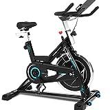 ANCHEER Bicicleta de Spinning Bicicleta Indoor de Volante de Inercia de 22kg Bicicletas deCiclo con Conecto con App y Monitor LCD para Ejercicio en el Hogar Carga Peso Máximo: 120 kg (Negro)