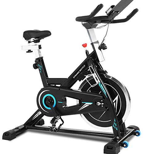 ANCHEER Bicicleta Spinning, Bicicleta Estática Fitness Interior Bicicletas de Ejercicio, Volante de Inercia 22kg, App Conexión, Pantalla LCD, Resistencia/Sillin/Manillar Ajustable ⭐