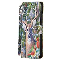 XIPER Samsung Galaxy A71 ケース Galaxy A71 カバー ギャラクシーA71 カバー お洒落な 鹿柄 手作り 高級PU レザーケース 手帳型 スタンド機能 カードポッケト ストラップ付き マグネット式 衝撃吸収 財布型 ケース カバー スタイリッシュ 耐衝撃 傷つけ防止 カバー