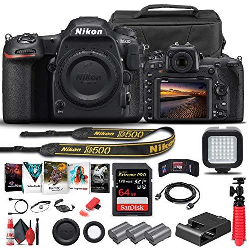 Nikon D500 DSLR Camera (Body Only) (1559) + 64GB Memory Card + Case + Corel Photo Software + 2 x EN-EL 15 Battery + Card Reader + LED Light + HDMI Cable + Cleaning Set + Flex Tripod + More (Renewed)