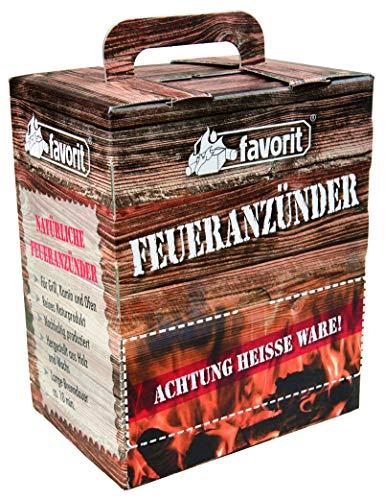 Favorit Feueranzünder (Holzwolle & Wachs), 100 Stück – ökölogische Anzünder, Naturprodukt, nachhaltig produziert – 1216