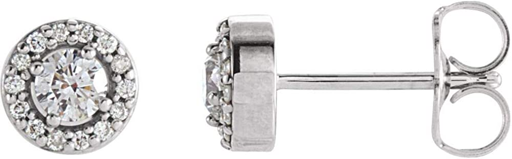 Solid 14k White Gold 1/4 Cttw Diamond Halo Stud Earrings (5.8mm x 5.8mm) (.25 Cttw)