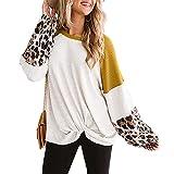 Kaenwang Camisa de punto de manga larga casual con cuello redondo y costuras de leopardo de moda, Amarillo y blanco., M