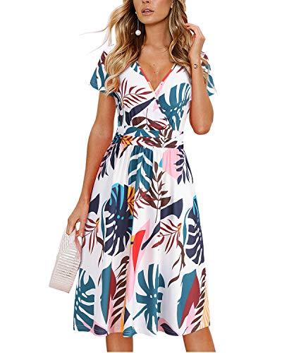 OUGES Women's Summer Short Sleeve V-Neck Floral Short Party Dress with Pockets(FloralQ,L)