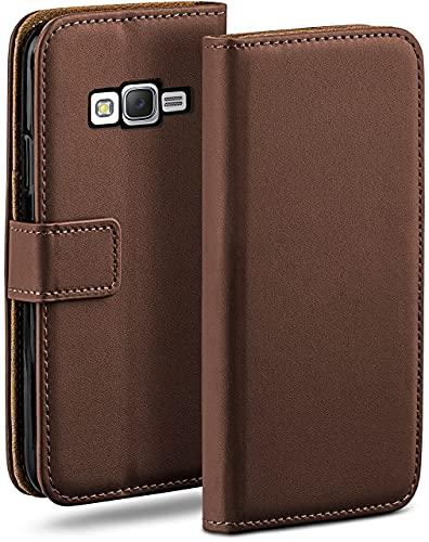 moex Klapphülle kompatibel mit Samsung Galaxy J5 (2015) Hülle klappbar, Handyhülle mit Kartenfach, 360 Grad Flip Hülle, Vegan Leder Handytasche, Dunkelbraun