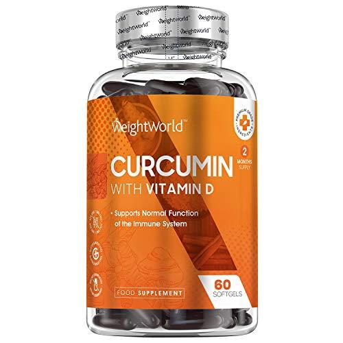 Curcuma Capsule + Vitamina D - Per Sistema Immunitario, Denti, Ossa, Massa Muscolare - 60 Softgel Capsule (Scorta di 2 Mesi) - Più Assorbimento della Curcuma in Polvere - Curcuma Pura Senza Glutine