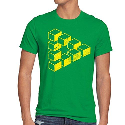 style3 Sheldon Cubo Camiseta para Hombre T-Shirt Escher triángulo, Talla:S;Color:Verde
