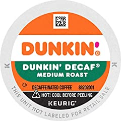 Contains 4 boxes of 22 K-Cup pods (88 count total) The rich, smooth taste of Dunkin' Original Blend, only decaffeinated Medium roast coffee, specially blended and roasted to deliver the same great taste as the brewed Dunkin' coffee available in Dunki...