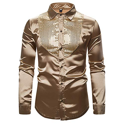 Gamlifing Mens Casual Fashion Crew Neck Full Zipper Button Down Nightclub Shirt Tops Blouses Sweatshirt for Party Men Long Sleeve Shiny Clubwear Coat Jacket