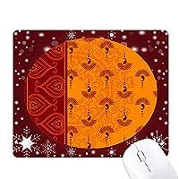 印刷リピートクロスオレンジ色のカラフルなアート オフィス用雪ゴムマウスパッド