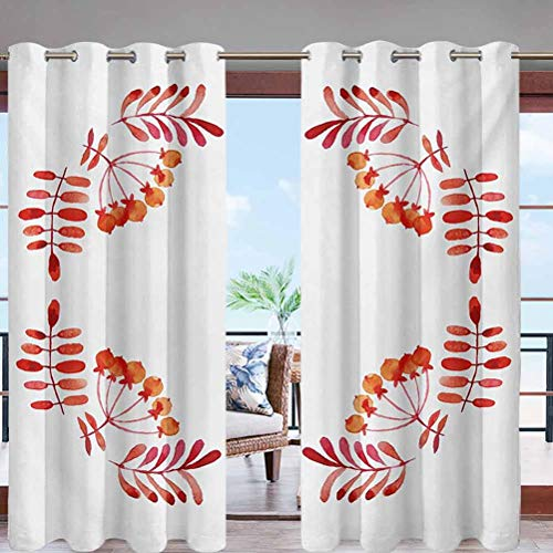 Sun Block Wind Prevention Grommet Top Curtain Panel Watercolor Style Artistic Leaves W84 x L84 for Front Porch Lawn Corridor Patio Door