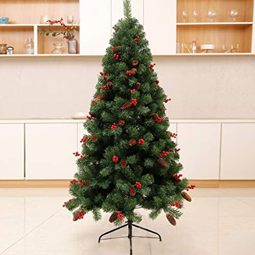 DONGLU Christmas Tree, Xmas Pre-Lit Crestwood Spruce Entrance Tree, Pine Cones, Red Berries In Gold Base For Front Door, Porch, Entryway Xmas Home Decorations (Size : 1.2m)