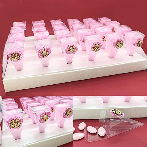 Juego de 24 conos para peladillas de PVC con mariquita, rosa y maderas nacidas en una bandeja de cartón, detalles para niña (con peladillas blancas)