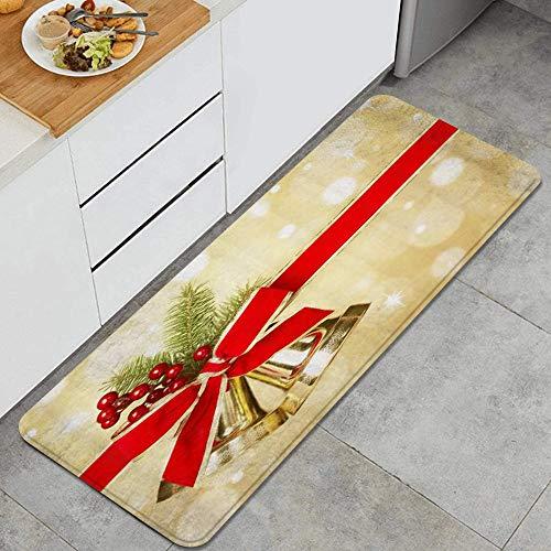 XXX Alfombra de Cocina,Campanas Cinta Lazo Nudo Ramas de Pino Navidad Bayas Festivas,Alfombrilla de Cocina Antideslizante Gruesa(45*120cm
