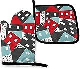AOOEDM - Juego de manoplas de horno y ollas geométricas abstractas, guantes de...
