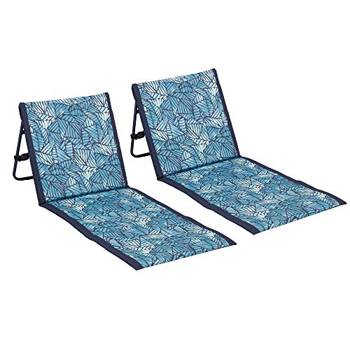 Lightspeed Outdoors 2-Pack Lounger Park and Beach Chair (Ombre Leaves Deep Navy)