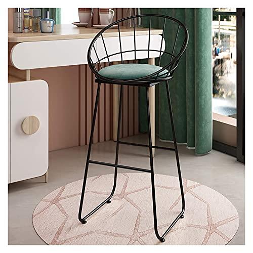 N/Z Wohnmöbel Runder Stoff Barhocker Samt Barhocker mit schwarzen Metallbeinen Sitzhöhe 45 cm / 65 cm / 75 cm Farbe: Pink/Grau/Grün Material: Samt