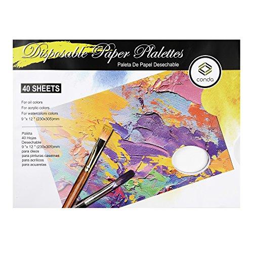Bloc de 40 paletas desechables para pintura, 23cm x 30,5cm (9x12 pulgadas)