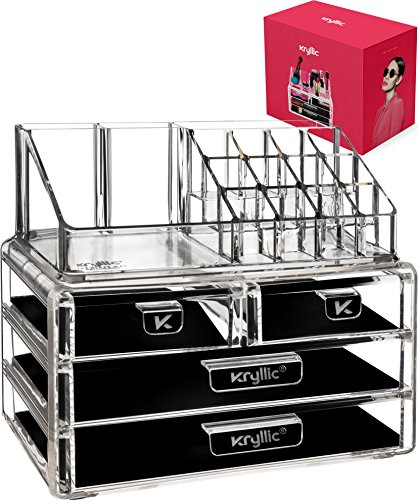 Acryl Vanity Make-up Cosmetic Organizer -16 slot 4 doos lade opslag organisatoren voor make-up borstels lippenstift lipgloss borstel palet! Aanrechtblad organisatiehouder voor badkamer & slaapkamer accessoires