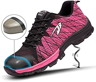 YI XIE Work Safety Shoes Puncture Proofed Footwear Steel Toe Shoes Men,Safety Shoes for Men and Women (6.5, Pink)