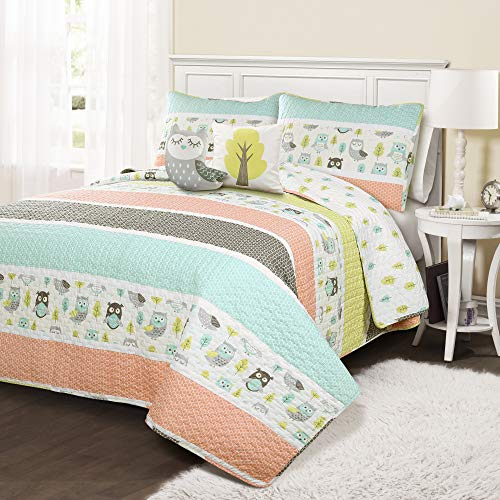 Lush Decor, Coral & Turquoise Owl Stripe 5 Piece Quilt Set, Full/Queen