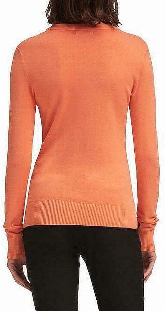 DKNY Womens Block Logo Pullover Sweater, Orange, Medium