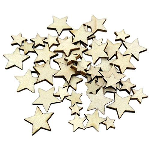 Luwu-Store Estrellas de Madera aglomerada para decoración del hogar, Manualidades, Navidad, Fiestas (100 Unidades), 100pcs