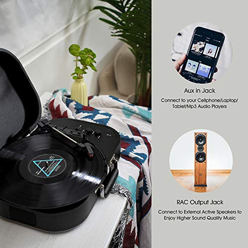 MUIFA Stereo Turntable, Portable Belt Drive Bluetooth Input Vinyl Record Player with Built-in Speakers, Black