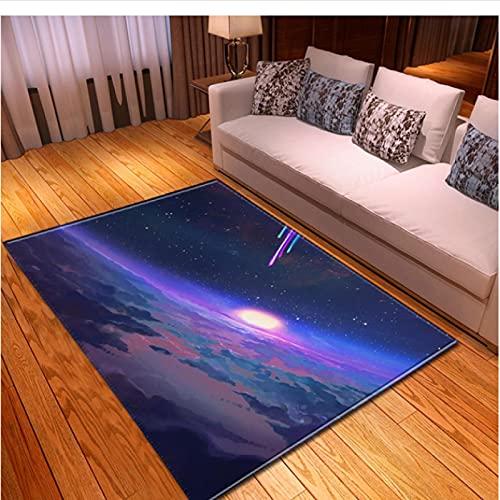 XIAIEWEI Alfombras nórdicas de Franela Suave 3D Galaxy Space Alfombras Impresas para habitación de niños Alfombras de área Grande Decoración para el Dormitorio del hogar 100 * 160 cm