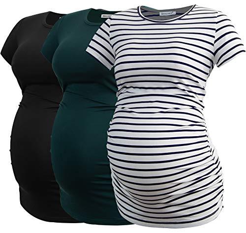 Smallshow Donne maternità Abbigliamento Top Camicia Abbigliamento Gravidanza 3-Pack Black-Deep Green-White Stripe S