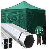 Gazebo Verde 3x3 Pieghevole Alluminio a Forbice Ombrello Professionale con piantone Esagonale Eventi chiosco sagra
