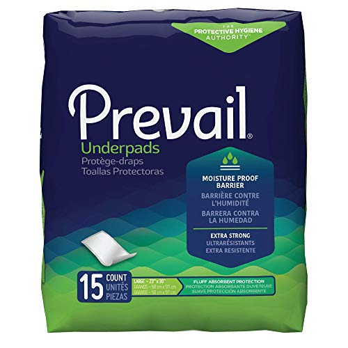 Prevail Incontinence Underpads, Fluff Absorbent, 23