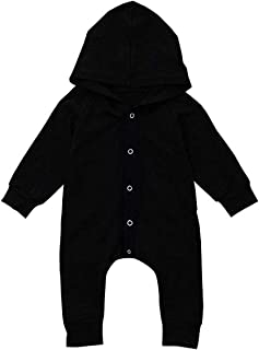 Walsoner Newborn Baby Boys Clothes Infant Long Sleeve Hoodie Romper Black Bodysuit One-Piece Jumpsuit Outfit
