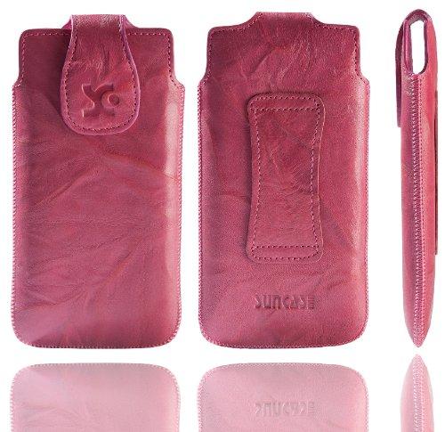 Suncase Original Tasche für Emporia PURE Leder Etui Handytasche Ledertasche Schutzhülle Hülle Hülle in wash-pink