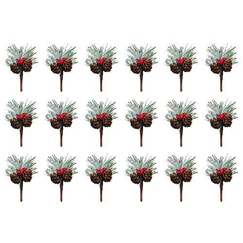 Red Berry Pine Picks, Künstliche Weihnachten Snowy Flower Picks Tannenzapfen Gefälschte Beere für Weihnachten, Winterdekor, Hochzeit (18,C)