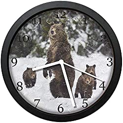 Dadidyc Snow Grizzly Bear Modern Simple Wooden Wall Clock Silent Non-Ticking Clock for Living Room Home Office 10IN