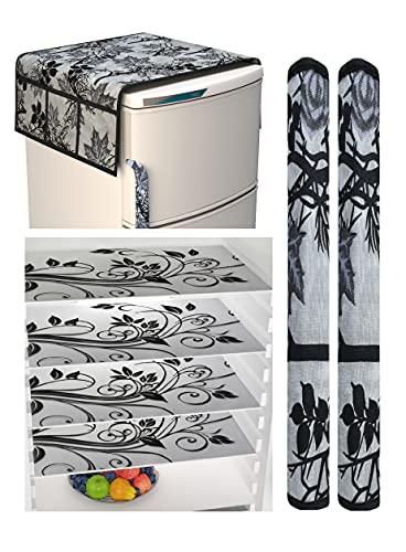 Factcore Combo of Kitchen Combo Fridge Top Cover(21 X 39 Inches), Fridge Handle Covers (12 X 6 Inches)+ 4 Fridge Mats (11 X 17 Inches), 7 Piece Set (Black Branch 142)