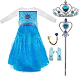 Conjunto Disfraz de Princesa Elsa para Niñas, Vestido de Reina Frozen, Accesorios Tiara de Corona, Vara de Hada, Trenza y Guantes para Fiesta Carnaval Cosplay Cumpleaños (XS /100 cm)