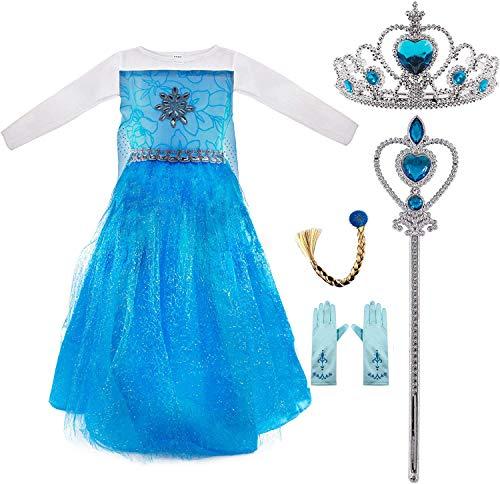 Conjunto Disfraz de Princesa Elsa para Nias, Vestido de Reina Frozen, Accesorios Tiara de Corona, Vara de Hada, Trenza y Guantes para Fiesta Carnaval Cosplay Cumpleaos (XS /100 cm)