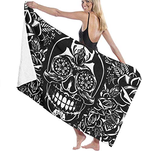 Cool Sugar Skull Black And White Microfiber Pool Beach Towel Blanket Quick Dry Super Absorbent The Best Creative Gift