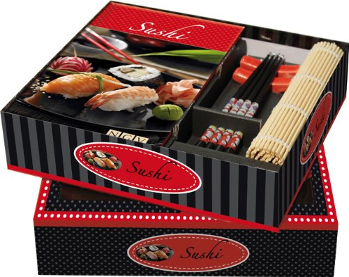 Buch-Box Sushi: Buch + Ess-Stäbchen, Stäbchen-Halter & Sushimatte