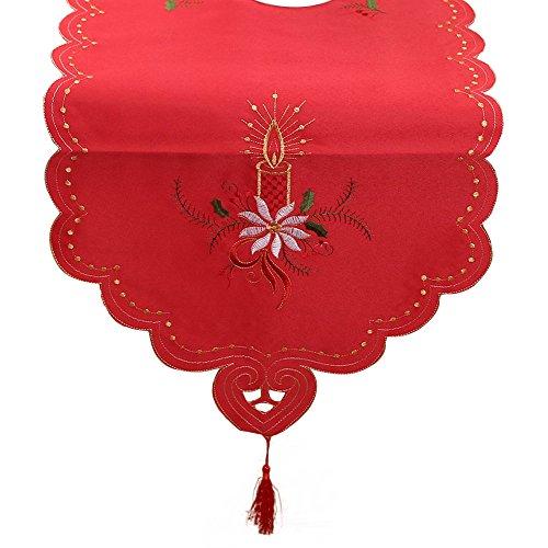 Elegant Tischdecke Stickerei Tischläufer Weiß Rot Tischband Tischfahne Tischdeko Mitteldecke Tischwäsche Weihnachten Deko Tischdekoration Tischschutz Dresser Tapestry Dining Restaurant Party Decor