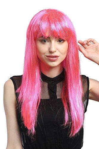 WIG ME UP ® - XR-003-PC5 Peluca señoras Carnaval Largo Liso mechones de Plata Flequillo Rosa Pink 55 cm