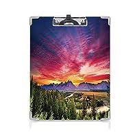 カスタム クリップボード クリップファイル 風景 事務用品の文房具 (2個)森林湖川山の風景サンバースト多色の雲とカラフルなスカイライン