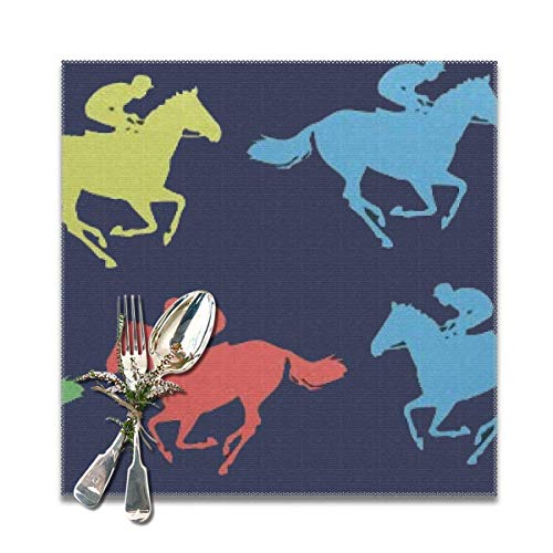 Jianyue Colorful Horse Racing Placemats for Dining Table Heat-Resistant Kitchen Banquet Party Table Mats Set of 6,(12x12inch)