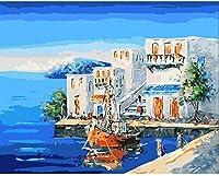 数字でペイントキット海辺の家のキャンバス大人と子供のためのDIYアクリル画大人と子供のためのペイントギフト子供アート家の装飾16x20インチ