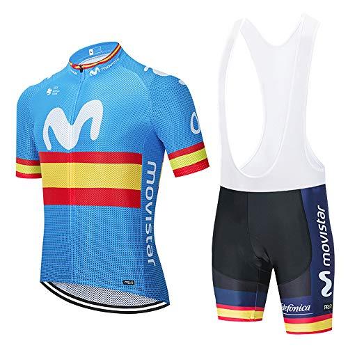 METAAN Conjunto de Ciclismo para Hombre, Maillot de Manga Corta + Culote Pantalones Cortos Acolchado 3D para Bicicleta de Verano